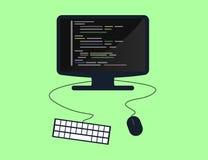 Programmierung und Konzept, Websiteentwicklung, Webdesign kodierend Flache Illustration Lizenzfreie Stockbilder