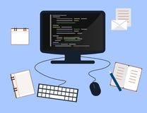 Programmierung und Konzept, Websiteentwicklung, Webdesign kodierend Flache Illustration Lizenzfreie Stockfotografie