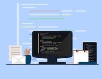 Programmierung und Konzept, Websiteentwicklung, Webdesign kodierend Flache Illustration Stockfotografie