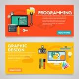 Programmierungs-und Grafikdesign-Konzept-Fahnen stock abbildung