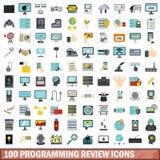 100 Programmierungsberichtikonen eingestellt, flache Art Stockbild