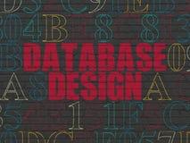 Programmierungskonzept: Datenbankentwurf auf Wandhintergrund Stockbilder