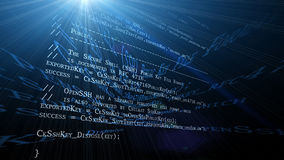 Programming code. Programming (source) code in 3D environment with various reflections and light rays Stock Photo