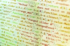 Programming code abstract screen of software developer. CSS, JS royalty free stock photos