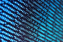 Programming code abstract technology. Digital binary data on computer screen. IT specialist workplace. royalty free stock photography