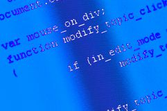 Programming code background. Software source code macro shot. Programming code background on computer screen royalty free stock image