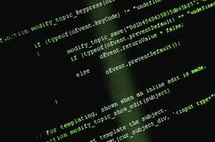 Programming code background. Software source code macro shot. Programming code background on computer screen stock images