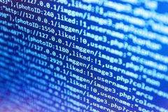 Programming code. IT business company. Creative focus effect. Mobile app building. Big data database app.