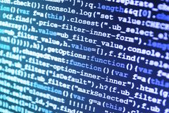 Programming code on computer screen. Programming preventing hacking stock image