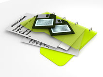 Programming code with floppy disks stock illustration