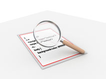 Programming code with magnifying glass Royalty Free Stock Images