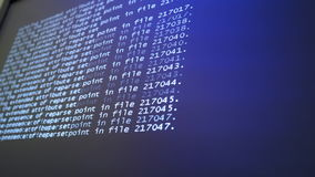 Programming code running down a computer screen terminal stock video