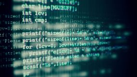Programming code running down a computer screen terminal stock video