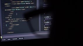 Programming code running down through glasses stock video footage