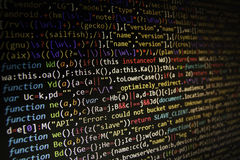 Programming code screen of software developer. Computer stock photography