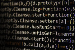 Programming code screen of software developer. Computer stock image