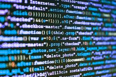 Programming code typing. IT specialist workplace. Creative focus royalty free stock image