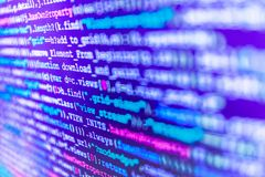 Programming code typing. Writing programming functions on laptop. Abstract IT technology background. Computer program preview stock images