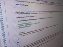 Programming code window on screen Royalty Free Stock Image