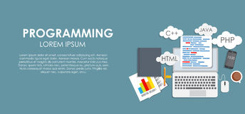 Programming Coding Concept Flat Background Vector Royalty Free Stock Image