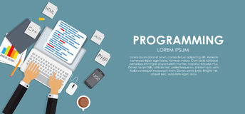 Programming Coding Concept Flat Background Vector Royalty Free Stock Photography