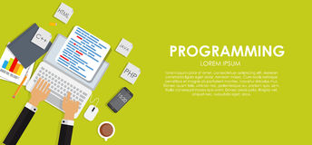 Programming Coding Concept Flat Background Vector Stock Photo