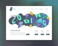Programming, Coding Concept. Isometric Website Landing Page Template. Web Development Mobile Software stock illustration