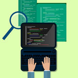 Programming and coding concept, website development, Web Design. Flat Illustration Stock Photography