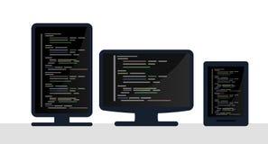 Programming and coding concept, website development, Web Design. Flat Illustration Stock Photos