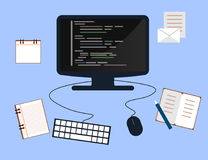 Programming and coding concept, website development, Web Design. Flat Illustration Royalty Free Stock Photography