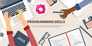 Programming,coding. Flat computing background. Code, hardware,software. Web development. Search engine optimization. Innovationtechnologies Mobile app Vector stock illustration