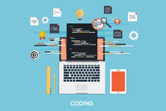 Programming - Coding Flat Concept Royalty Free Stock Photos