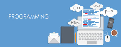 Programming Coding Flat Concept Vector Royalty Free Stock Images