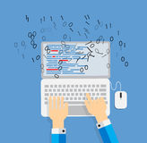 Programming Coding Flat Concept Vector Royalty Free Stock Photo