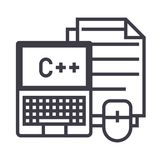 Programming,coding,notebook, mouse, docs vector line icon, sign, illustration on background, editable strokes Stock Photography