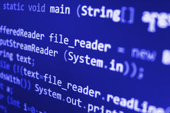 Programming coding source code screen. Stock Photo