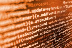 Programming coding source code screen. Stock Image