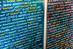 Programming coding source code screen. Royalty Free Stock Photos