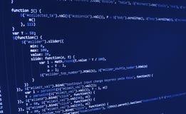 Programming coding source code screen. Programming code abstract screen software developer. Computer script vector illustration