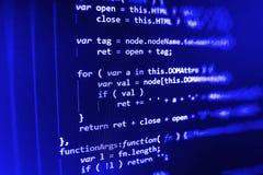 Programming coding source code screen. Programming code abstract screen software developer. Computer script royalty free stock photos