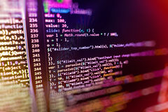 Programming coding source code screen. Programming code abstract screen software developer. Computer script Stock Image