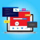Programming and coding, web design Stock Photography