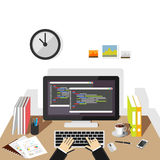 Programming on computer. Software development or coding concept. Programmer profession Royalty Free Stock Image