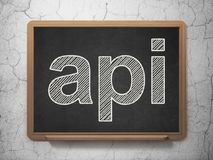 Programming concept: Api on chalkboard background. Programming concept: text Api on Black chalkboard on grunge wall background, 3D rendering Royalty Free Stock Images