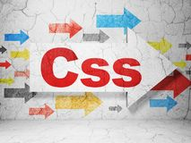 Programming concept: arrow with Css on grunge wall background. Programming concept:  arrow with Css on grunge textured concrete wall background, 3D rendering Royalty Free Stock Photo
