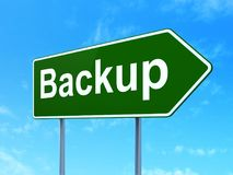 Programming concept: Backup on road sign background Stock Photography
