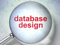 Programming concept: Database Design with optical glass. Programming concept: magnifying optical glass with words Database Design on digital background, 3D Royalty Free Stock Photography