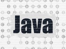 Programming concept: Java on wall background. Programming concept: Painted black text Java on White Brick wall background with Scheme Of Hexadecimal Code Stock Images