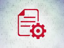 Programming concept: Gear on Digital Data Paper background. Programming concept: Painted red Gear icon on Digital Data Paper background Stock Photos