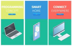 Programming Concept, Smart Home, Connect Banners stock illustration